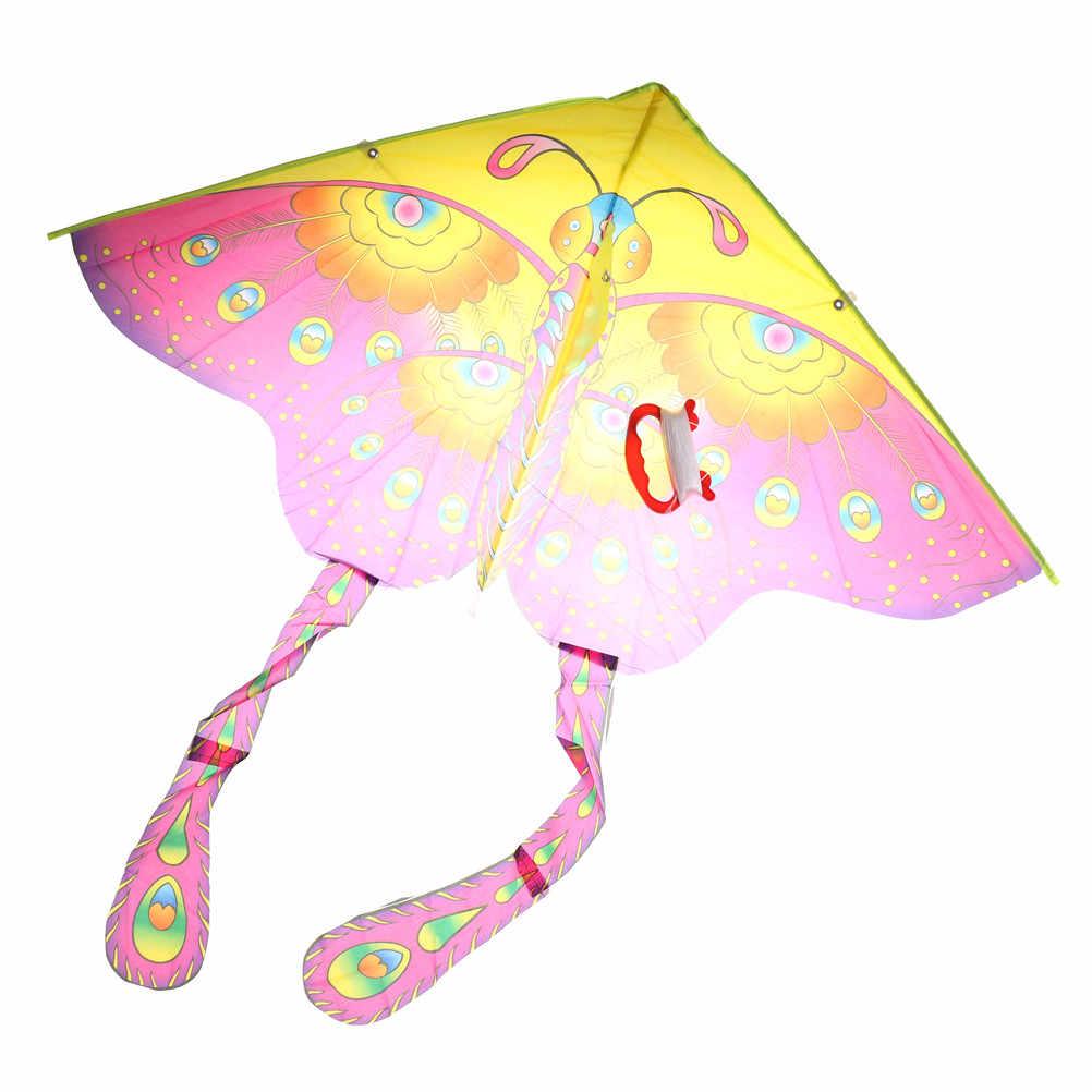 Outdoor 90*55 cm Opvouwbare kinderen Kite Stunt Kite Surf Met 60 M Controle Bar En Lijn Nylon regenboog Vlinder Kite Willekeurige Kleur