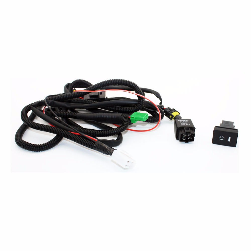 hight resolution of for mitsubishi l200 kb t ka h11 wiring harness sockets wire connector switch 2 fog lights drl front bumper halogen car lamp in car light assembly from