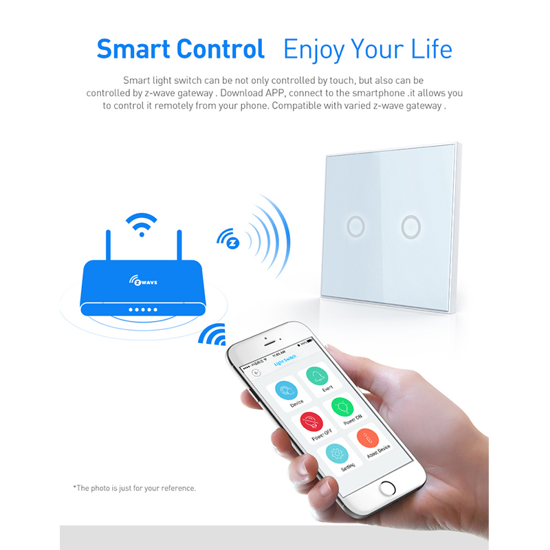 Image 5 - COOLCAM 4pcs/lot Z wave Plus Wall Light Switch 2CH Gang Home Automation Z Wave Wireless Smart Remote Control Light Switch-in Building Automation from Security & Protection