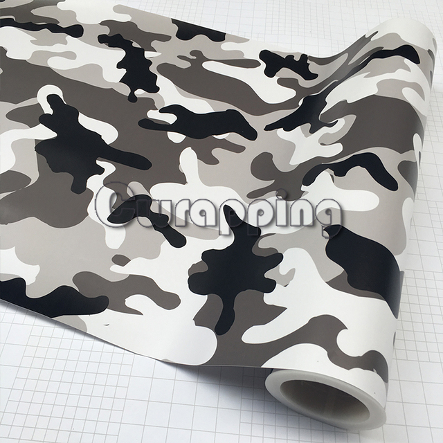 black white grey snow camo vinyl car wrap arctic printed. Black Bedroom Furniture Sets. Home Design Ideas