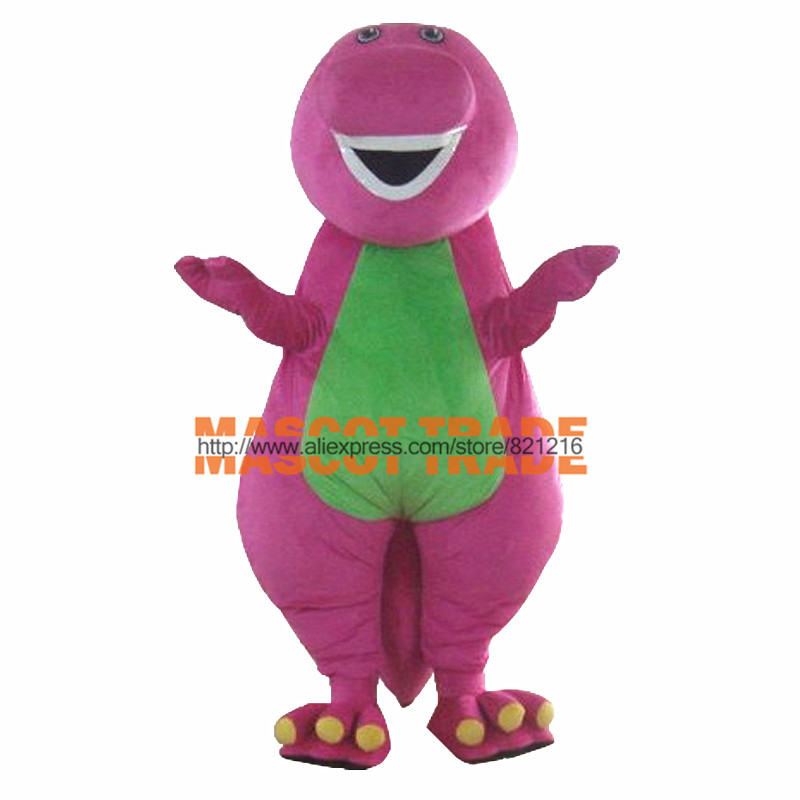 Zakázková výroba vysoce kvalitních dospělých Barney Cartoon Mascot Costumes na dospělých