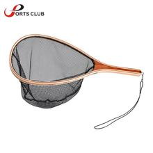 Fly Fishing Net Wooden Handle Frame Fish Catch and Release Net Portable Lightweight landing Net Nylon / Rubber Optional