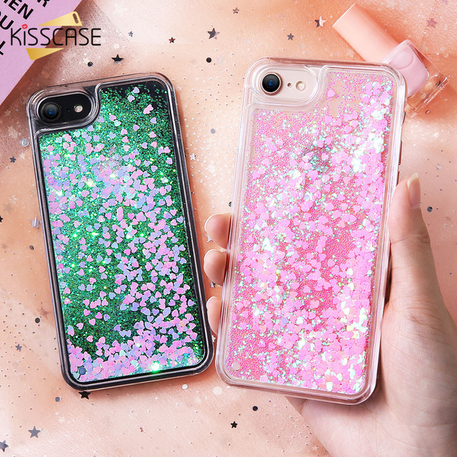 KISSCASE Quicksand Glitter Cases For iPhone 8 iPhone 8 Plus Liquid Sand Case  For iPhone 7 6 6s 5s 5 se Cover Hard PC Back Coque 47c0ac9c3