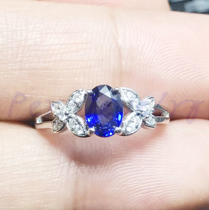 Natural sapphire ring Free shipping Natural real sapphire 925 sterling silver 0.6ct gemstone Fine jewelry #F18030808