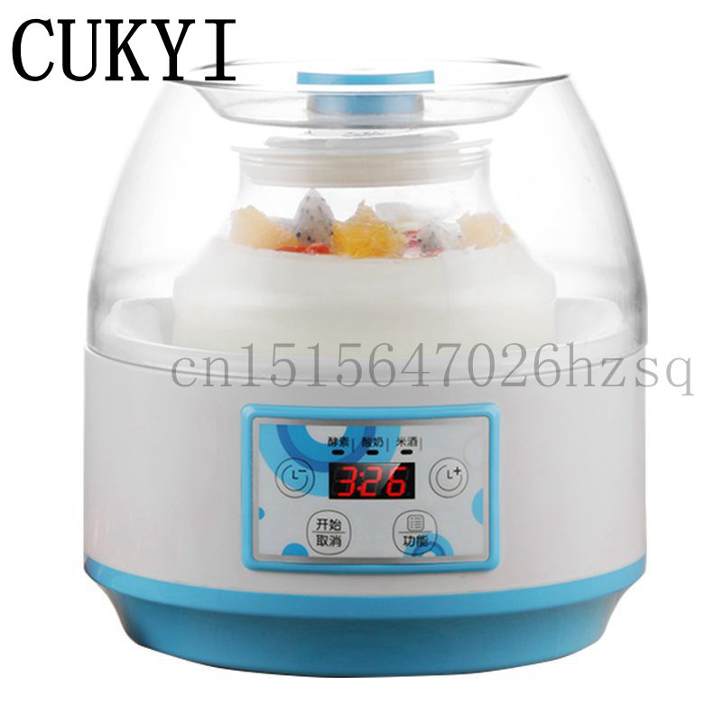 CUKYI multifunctional household Enzyme Machine electric 2L Yogurt Maker glass liner rice wine makers cellulase enzyme production from trichoderma reesei