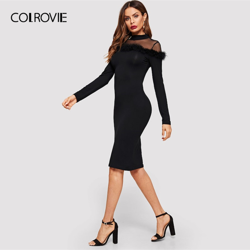 150c1624c5c COLROVIE Black Mock-Neck Faux Fur Bodycon Elegant Dress Women 2019 Spring Long  Sleeve Mesh
