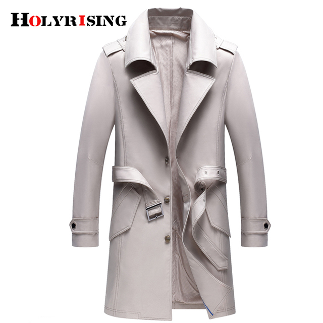 Holyrising men trench coat excellent quality elegant solid jacket male overall Men British Style Business Outwear 18359-5