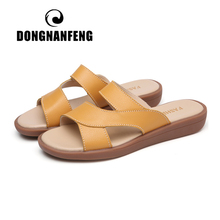 DONGNANFENG New Women Old Mother Female Ladies Shoes Sandals Cow Genuine Leather Slip On Summer Beach Casual Size 35-40 YL-1802