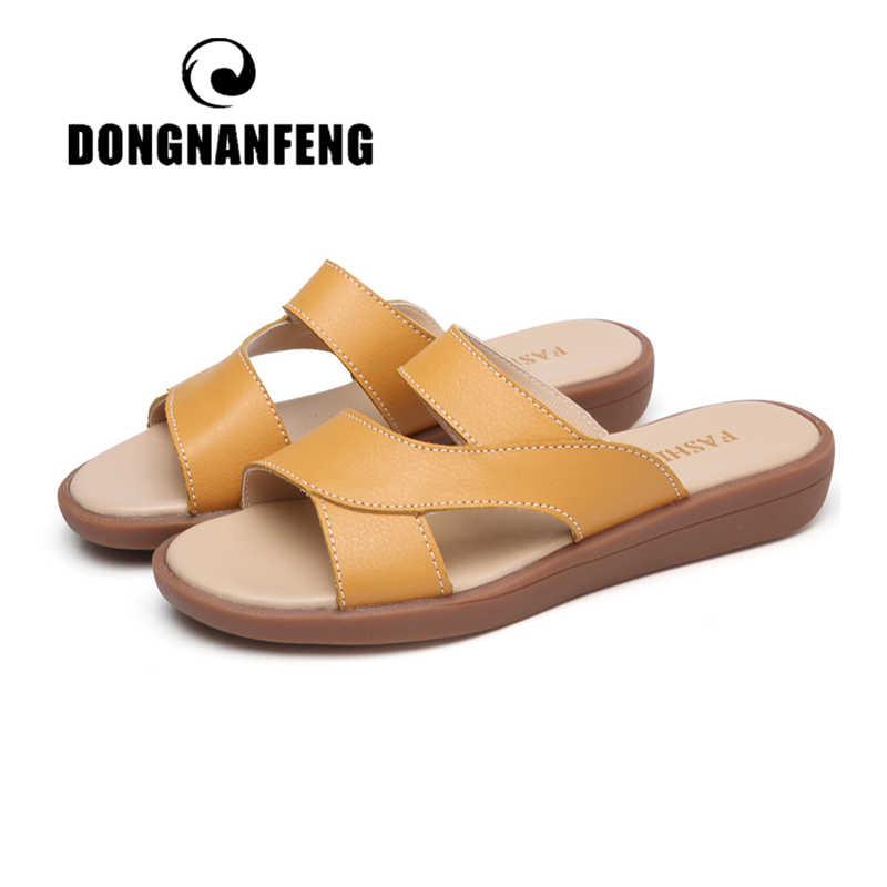 DONGNANFENG ใหม่ผู้หญิงแม่หญิงสุภาพสตรีรองเท้ารองเท้าแตะวัวของแท้หนังลื่นบนชายหาดฤดูร้อนสบายๆขนาด 35-40 YL-1802