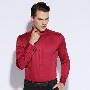 Image 5 - Рубашка мужская с французскими манжетами, роскошная Свадебная сорочка из мерсеризованного хлопка с длинными рукавами, Классическая с запонками