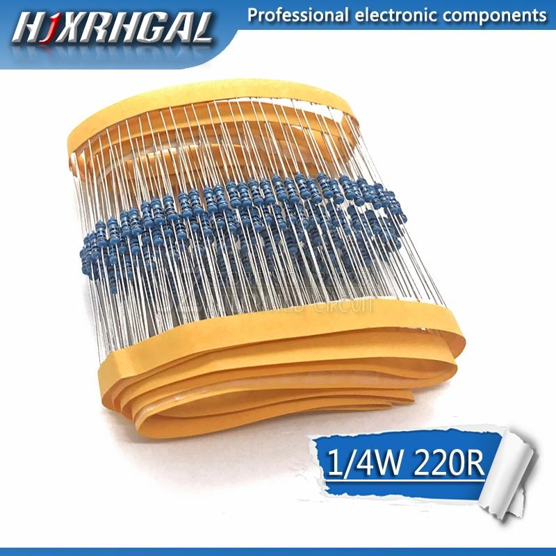 100 шт. 220 Ом 220R 1/4 Вт металлический пленочный резистор 1% hjxrhgal