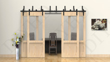 10FT Bypass sliding barn wood closet door rustic black hardware for 4 barn doors