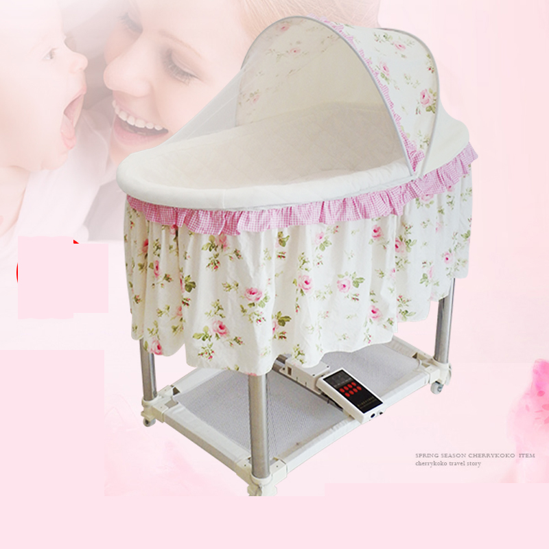 electric baby bed automatic baby cradle basket electric cradle swing with comfort mosquito net chaise metal wheels pillow cotton hot sale electric baby cradle automatic swing baby shaker baby cribs bear weight less than 25kg pink blue baby sleeping basket