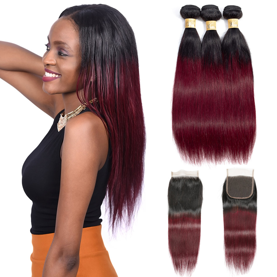 Wome Ombre Bundles With Closure Brazilian Straight Hair T1B 99J Black To Red Wine Hair Weave