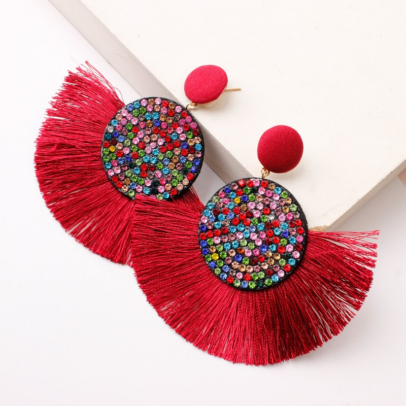 Exknl Fashion Tassel Vintage Statement Drop Earrings for Women Black Red Yellow Big Bohemian Dangle Fringe Earrings 19 Jewelry 11