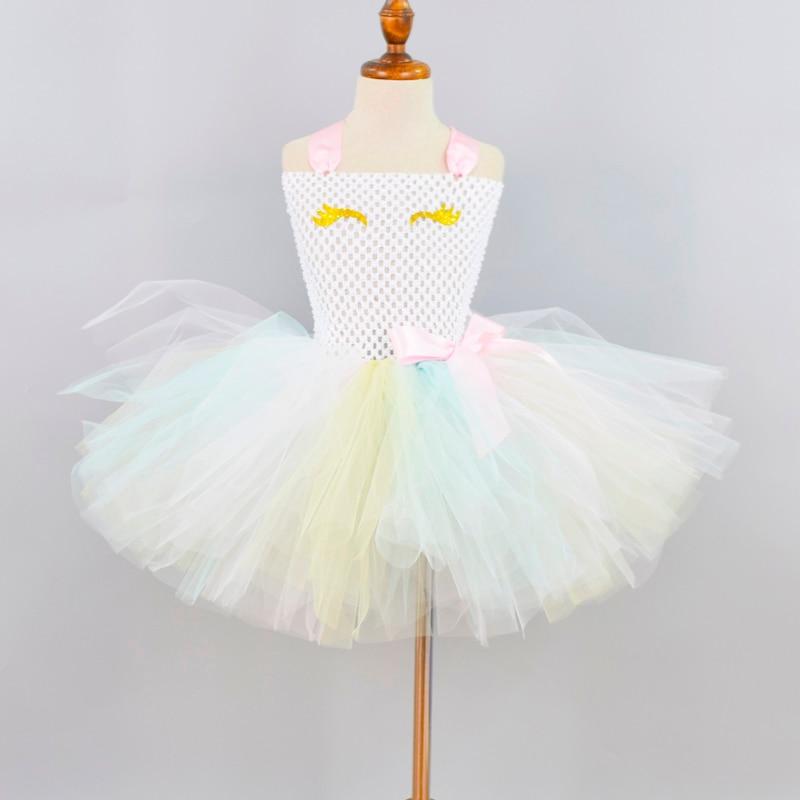 New Pastel Unicorn Tutu Dress for Girls Baby Unicorn Theme Birthday Party Dresses Kids Halloween Unicorn Costume 1-12Y 1