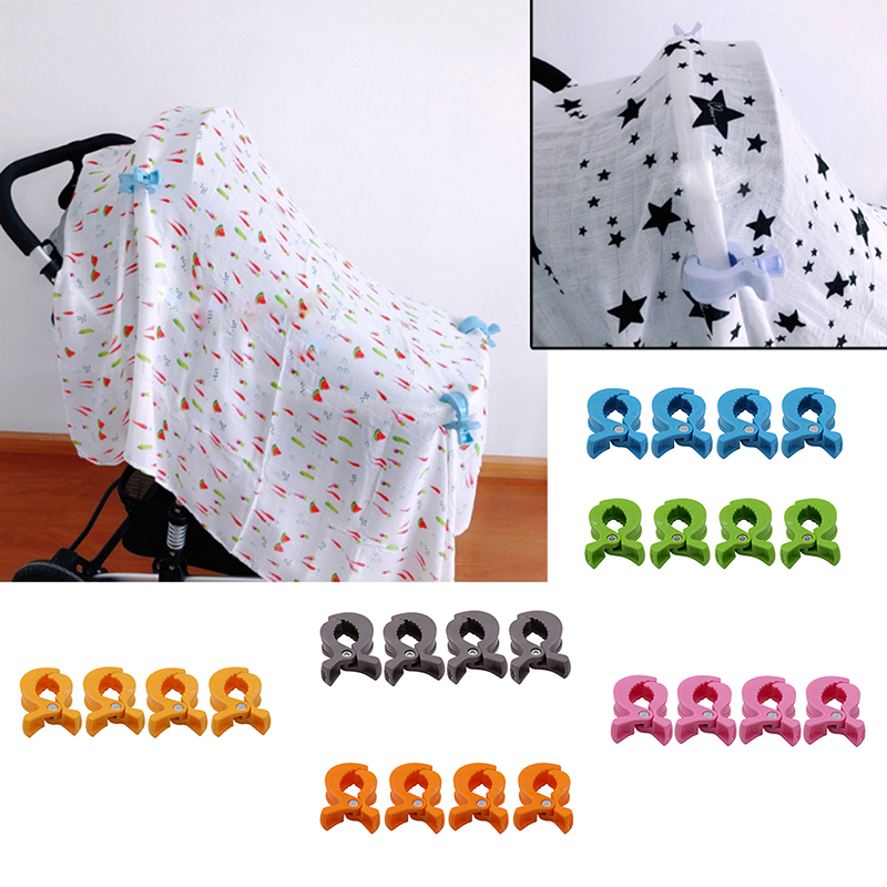 4pcs/Set Baby Car Seat Accessories Toy Lamp Pram Stroller Peg To Hook Cover Blanket Clips Stroller Accessories