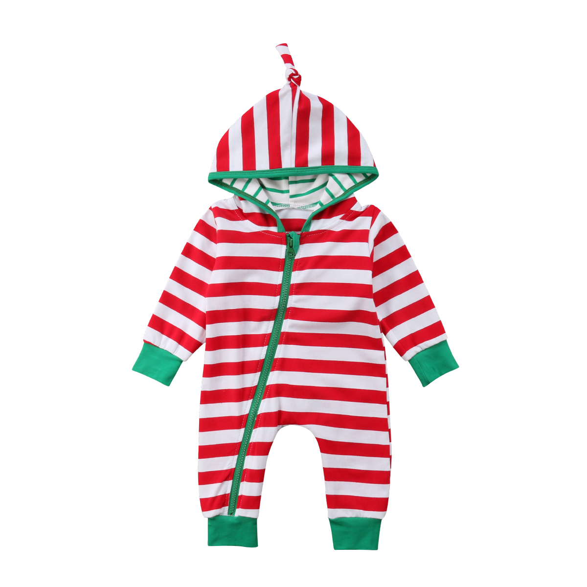 cb95a91f9 Christmas Baby Rompers Toddler Baby Boys Girls Green Striped Long ...