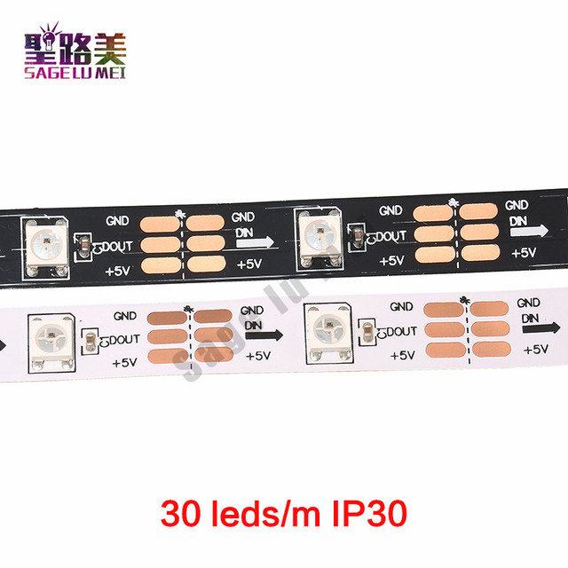 1m 5m DC5V WS2812B WS2812 taśma pikselowa Led indywidualnie adresowane inteligentne listwy RGB Led taśma oświetlająca czarny biały PCB IP30/65/67