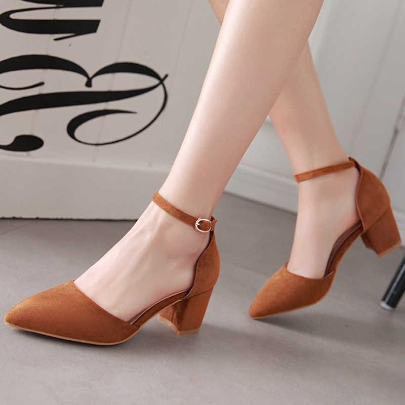 Meotina 하이힐 여성 펌프 두 조각 두꺼운 발 뒤꿈치 숙녀 파티 핑크 신발 여름 버클 발목 StrapFootwear 대형 33-43