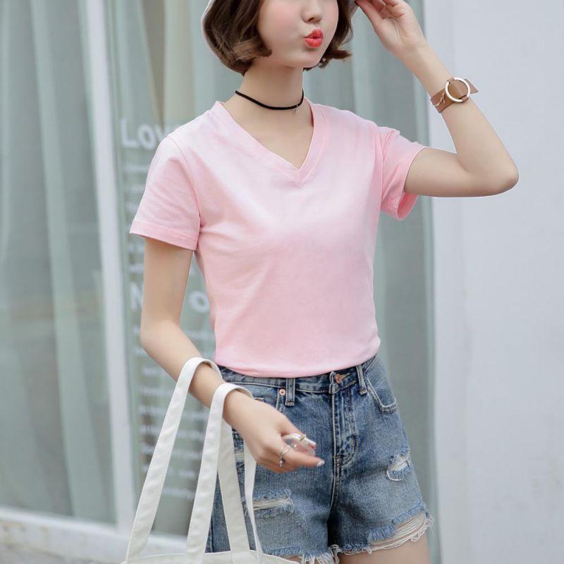 White Black Cotton Basic T Shirt Women Plain Simple V Neck -1354