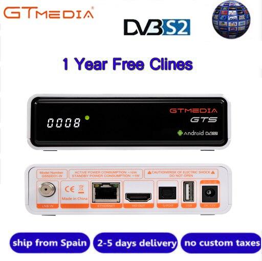 IPTV CCcam GTmedia GTS Satellite Récepteur Android6.0 TV BOX + DVB-S/S2 Smart TV BOX WiFi Intégré HD 4 K Télécommande Set Top Box