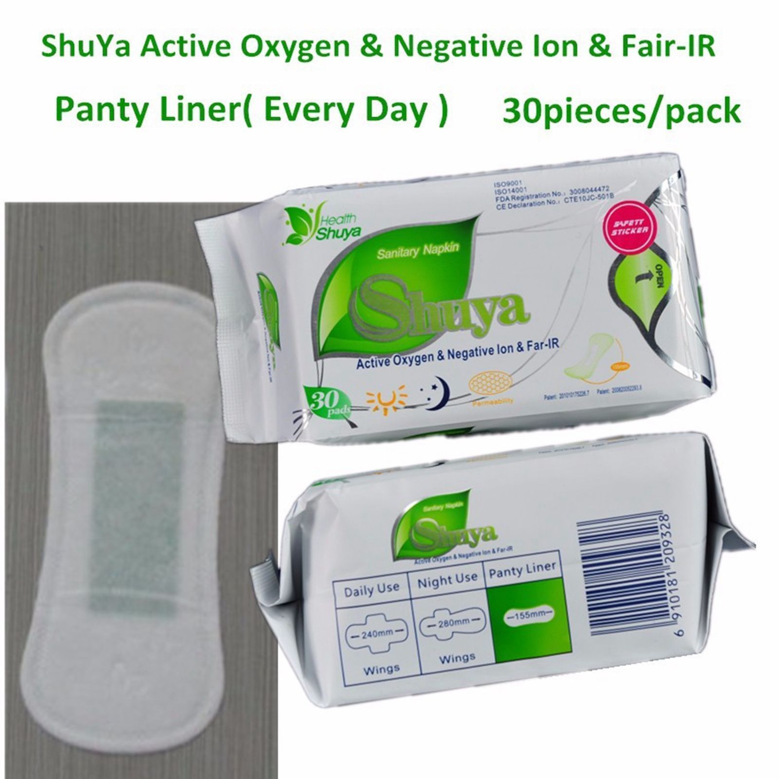 1 Bag Organic Cotton Natural Panty Liners Anion Active Oxygen 30 Liner(s)