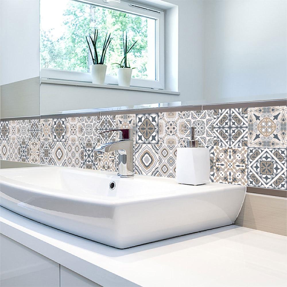 €16.165 16% de réductionStickers muraux de Style portugais  Motif carreaux,  décoration de meubles de cuisine, toilette, ligne de taille, papier peint