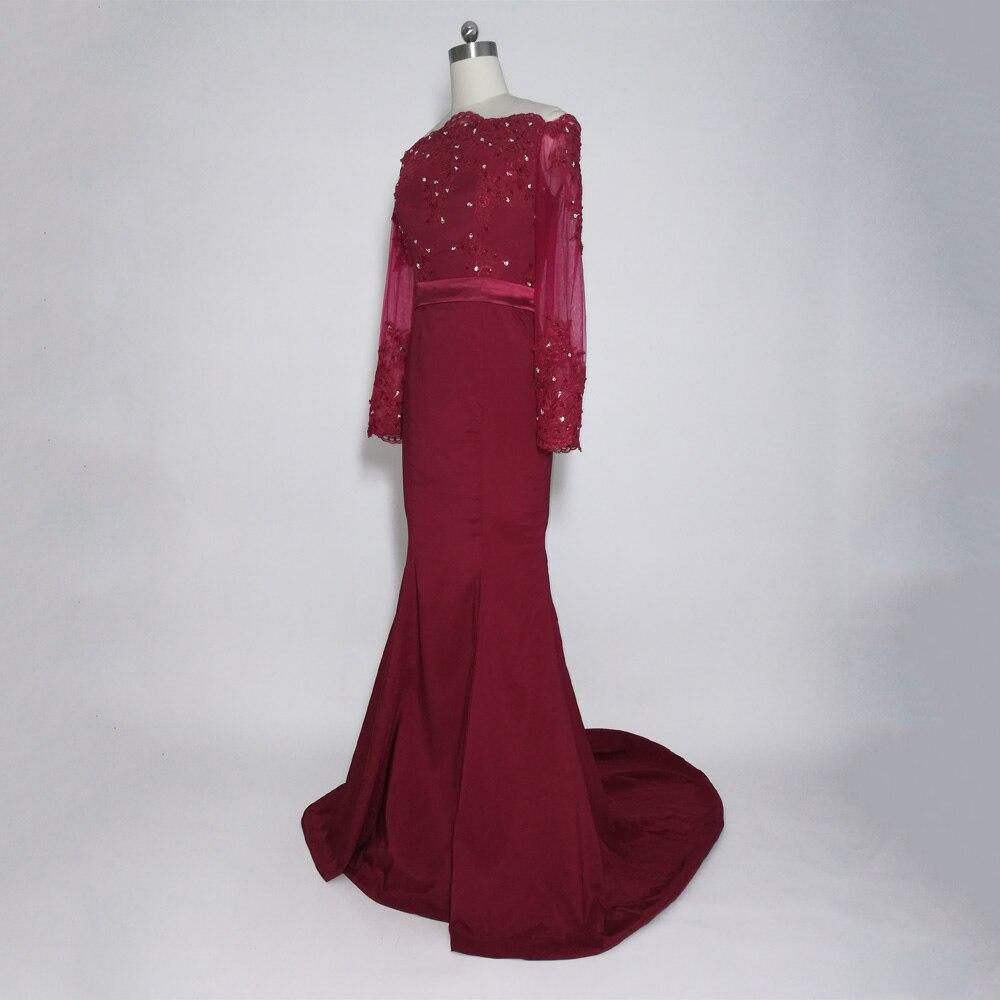 JIERUIZE bordeaux sirène robes de bal longue épaule manches longues robes de soirée formelle robes de soirée abendkleider - 3