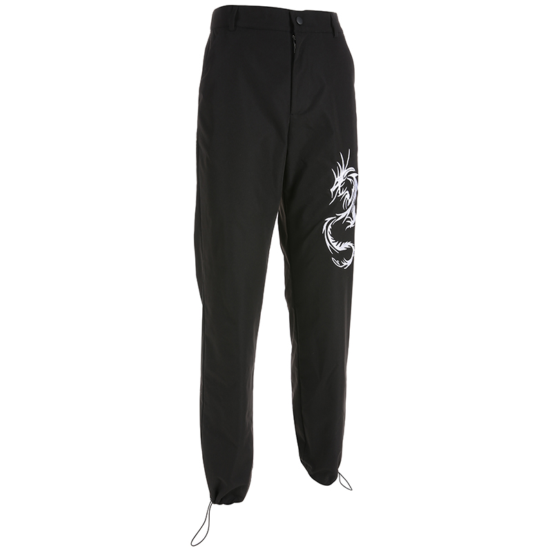 Sweetown Chinese Style Dragon Embroidery Cargo Pants Women Black High Waist Pocket Trousers Streetwear Womens Joggers Sweatpants 4