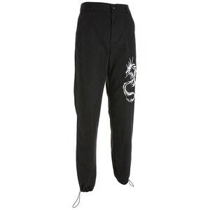 Image 5 - Sweetown 중국 스타일 드래곤 자수 카고 바지 여성 블랙 높은 허리 포켓 바지 Streetwear Womens Joggers Sweatpants