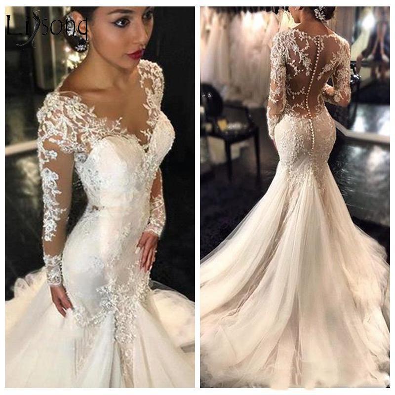 New Gorgeous Lace Mermaid Wedding Dress Dubai African Arabic Style Petite Long Sleeves Fishtail Custom Made Bridal Gowns