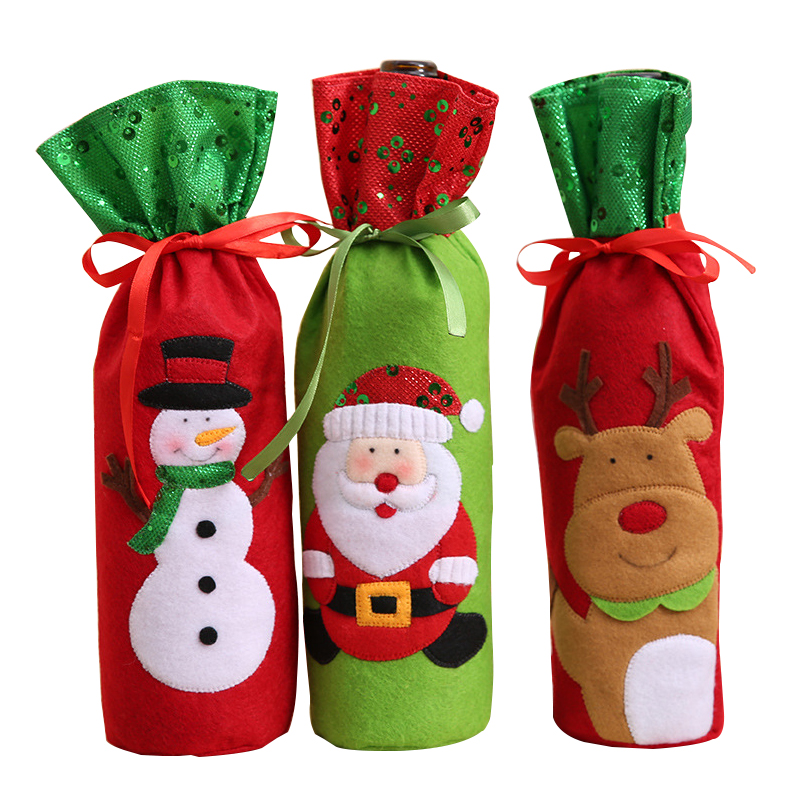Cloth Wine Bottle Bags Party Holiday DIY Decorations Storage