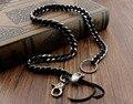 Heavy Long Biker Rocker Black Leather Solid Metal Cuban Key Jean Wallet Chain B2