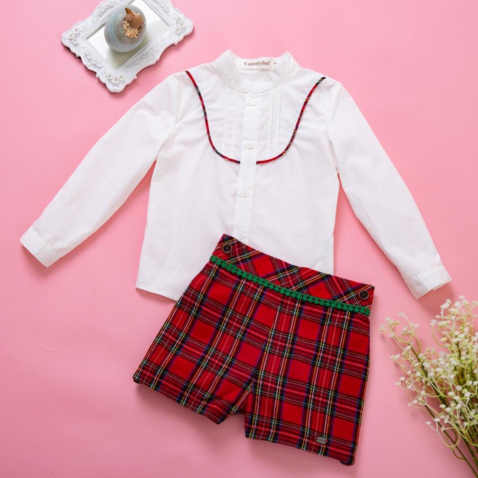 Pettigirl Christmas Boys Clothing Sets White shirt + Red Grid Shorts Boutique Kid Costumes For Boys B-DMCS007-A143Pettigirl Christmas Boys Clothing Sets White shirt + Red Grid Shorts Boutique Kid Costumes For Boys B-DMCS007-A143