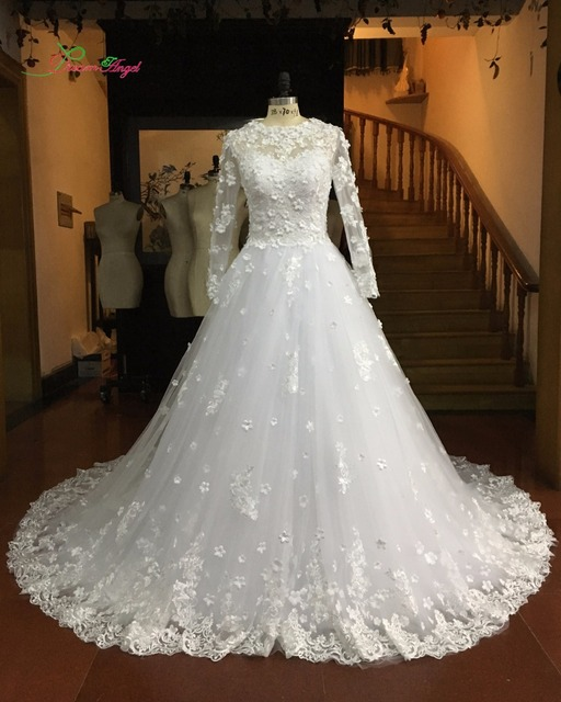 Dream Angel Elegant Long Sleeve Flowers A Line Wedding Dresses 2017 ...