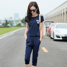 tracksuit for women spring and summer o-neck casual sportswear short-sleeveT-shirt shorts twinset 515 plus size m-4xl