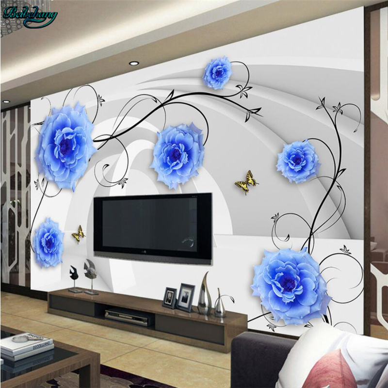 beibehang Large Custom Wallpapers Fantasy Flowers 3D Stereo Mural TV Background Sai Teck Bale Wall Furnishings