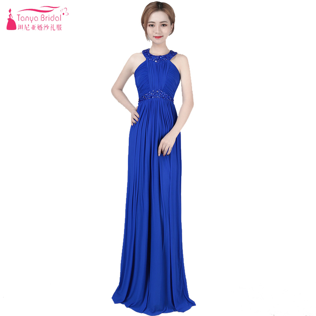 Royal Blue Chiffon Prom Dresses Halter Elegant In Stock Evening ...