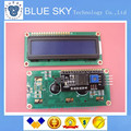 Shiipping libre 1 lote = 2 unids 1 unids HD44780 1602 16x2 LCD del Carácter azul + 1 unids IIC/I2C 1602 Módulo de Interfaz Serie