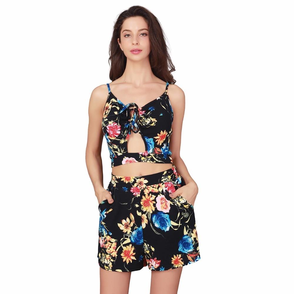 women sets t shirt short pants sets floral ruffle sleeves fashion european style lady printing short pants sets in Women 39 s Sets from Women 39 s Clothing