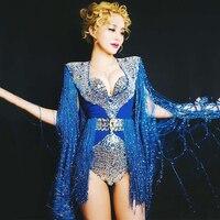 Для женщин большие камни кисточкой Боди Экипировка Бюстгальтер певица ночной клуб DS DJ Одежда для танцев сценический костюм одежда для пред