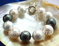 New Arriver Huge 8''  16MM White Black Color Round Shaper Mother Of Pearl Bracelet Wholesale New Free Shipping