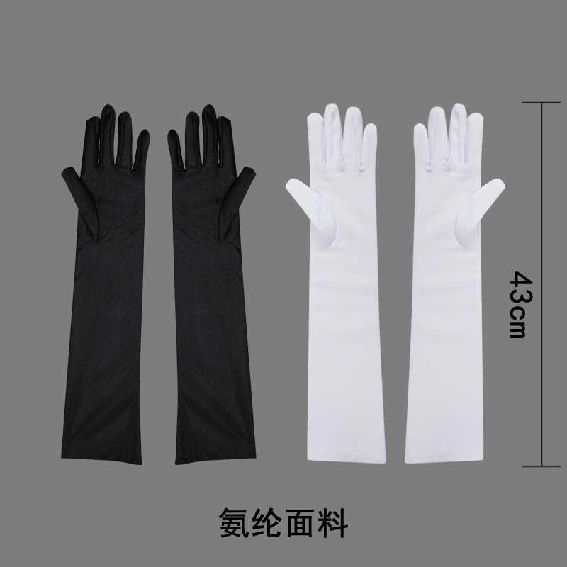 Pani Fancy Dress Opera Prom satyna rozciągliwa łokieć-długość suknie wieczorowe Sexy długie rękawiczki (kolor: czarny/biały)