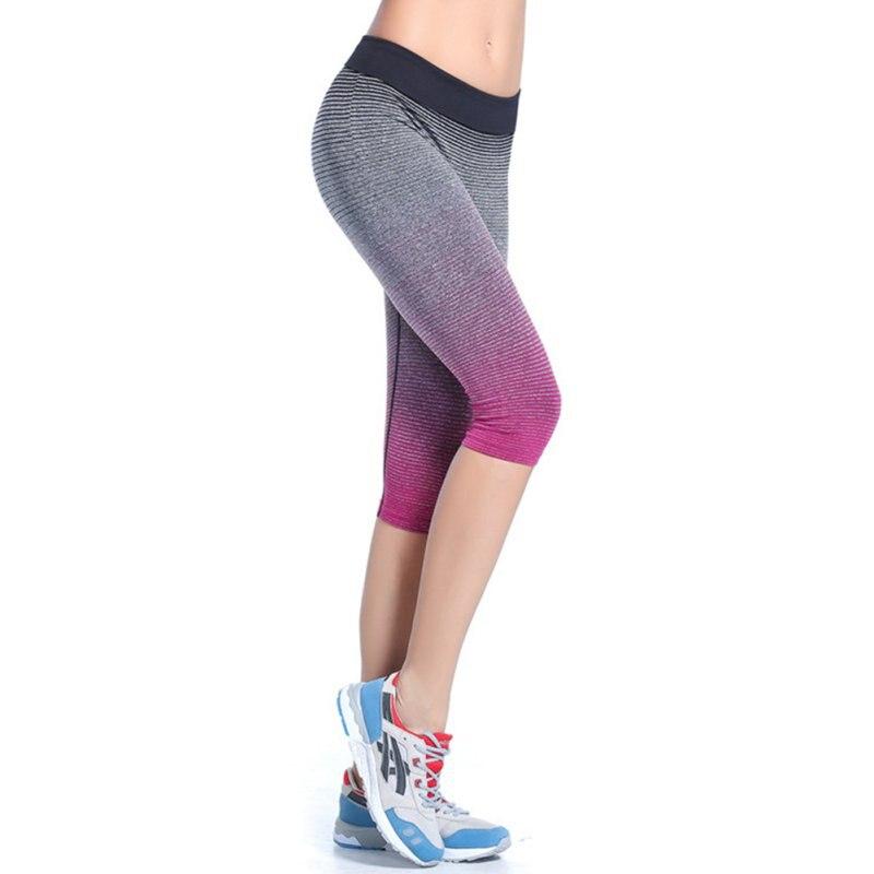 57f2204e8e89e Women Breathable Yoga Sport Leggings Capri Pants Running Fitness Gym  Sportswear Elastic Capris Gym Athletic Sports Leggings