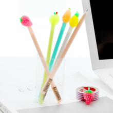 24 pcs/Lot Cute fruit gel pen 0.5mm ballpoint Black color ink pens gift Stationery Office accessories School supplies FB137 24 36 60 100 pieces cute colored needle gel pen 0 4mm color ink line drawing pens stationery accessories school supplies zxb92