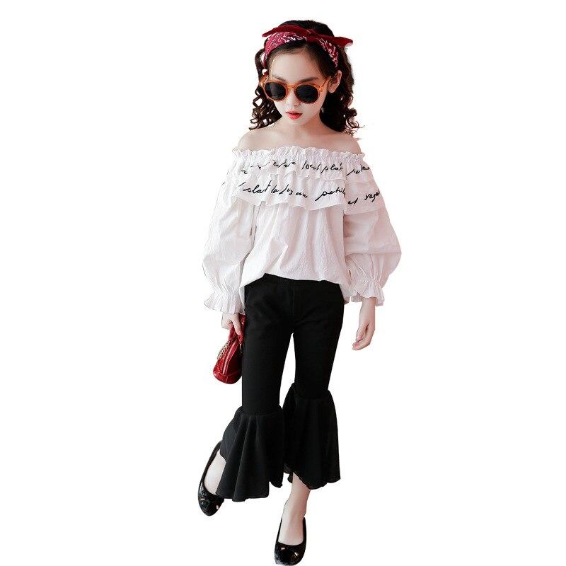 Girls Clothing Set 2018 Long Sleeve White Shirt + Pant Spring Teenage Girls Fashion Kids Clothes For 5  6 78 9 10 11 12 13 Years kids clothes sets for girls 4 5 6 7 8 9 10 11 12 13 14 years 2018 spring baby girl clothing long sleeve blouses skirt leggings