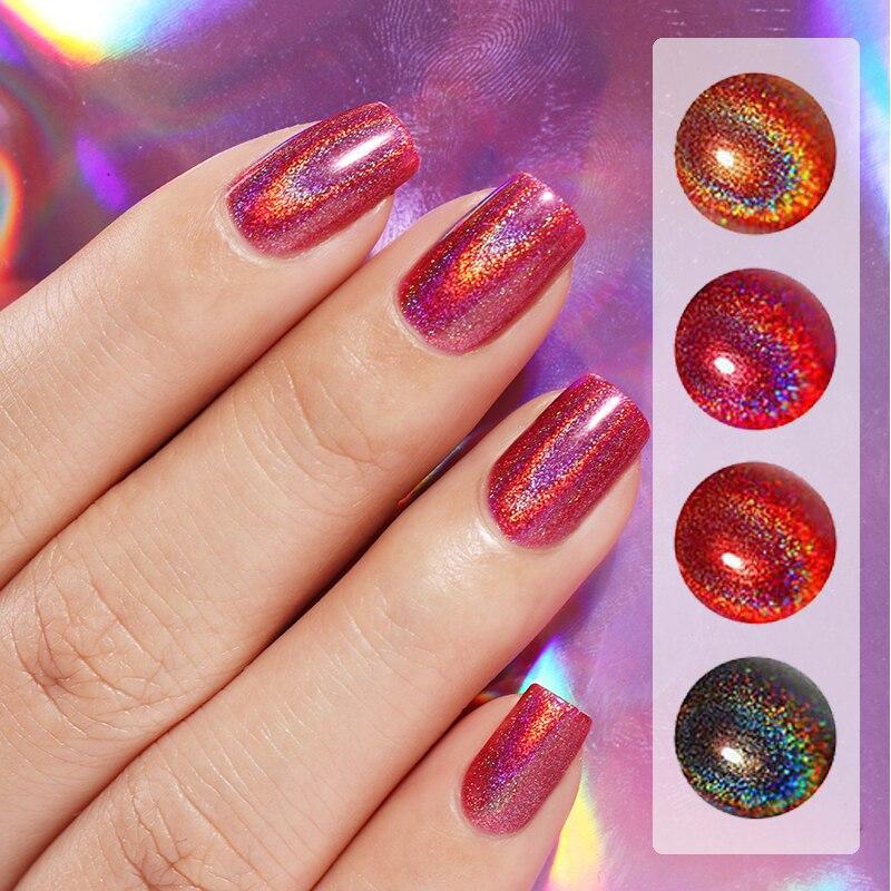 Black Holographic Glitter Nail Polish: BORN PRETTY Holographic Series Nail Polish Black Red Laser