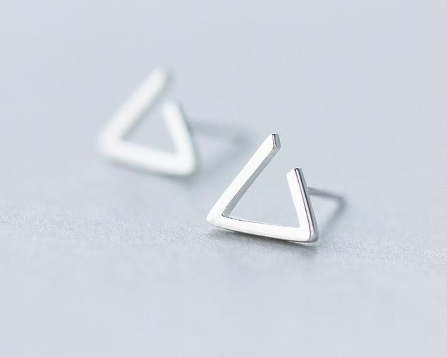 Sterling Silver Open Triangle Stud Earrings AOePjc