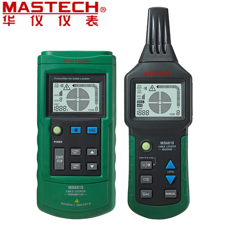 Hot Digital MASTECH MS6818 advanced wire tester tracker multi-function Cable detector 12~400V Pipe Locator Meter With blacklight mastech ms6818 portable instruments professional cable locator wire tracker pipelines detector tester ac dc voltage 12 400v